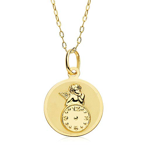 Angel de la Guarda con Reloj Oro 18 ktes
